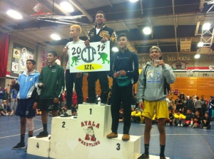 CIF Champ Brandon Hernandez at the top of the podium.